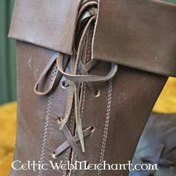 Side sznurowane wysokie buty, ciemnobrązowy