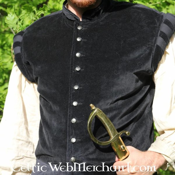 Velvet doublet with metal buttons, red