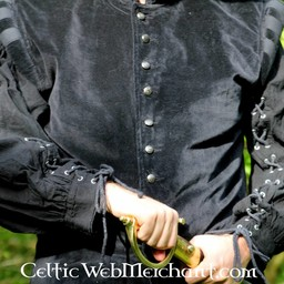 Velvet doublet with metal buttons, black