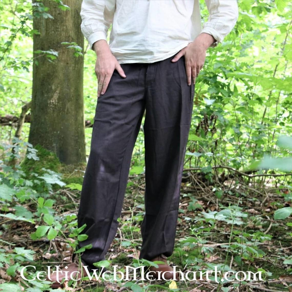 Leonardo Carbone Hose mit Knöpfen, schwarz