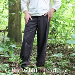 Trousers with buttons, black