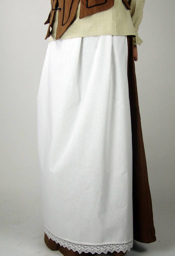 Apron with lace, cream