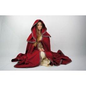 Broderad mantel Lyra, röd