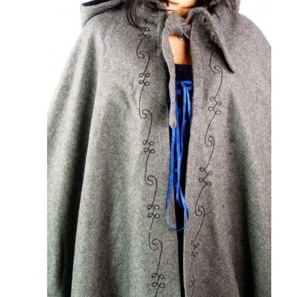 Geborduurde mantel Damia, blauw