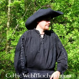 Chemise Pirate avec des lacets, noir