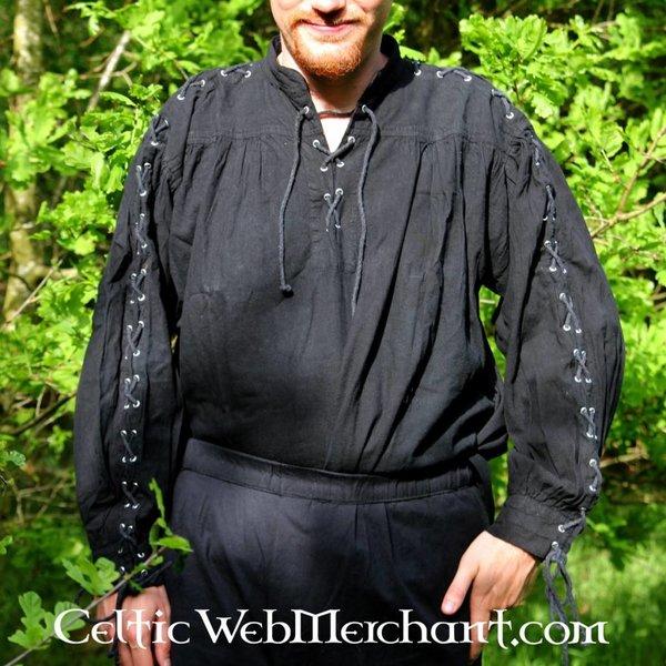 Leonardo Carbone Pirate shirt med snørebånd, sort
