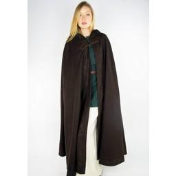 Geborduurde mantel Damia met sluiting, bruin