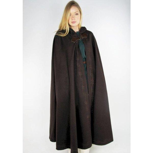 Geborduurde mantel Damia met sluiting, zwart