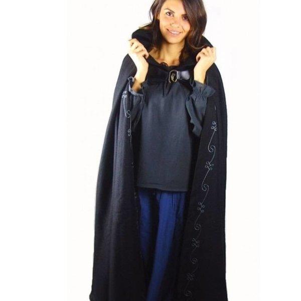 Manteau brodé Damia avec péroné, noir