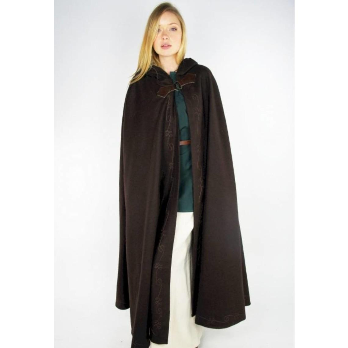 Leonardo Carbone Geborduurde mantel Damia met sluiting, zwart