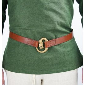 Viking belt with wolf, brown