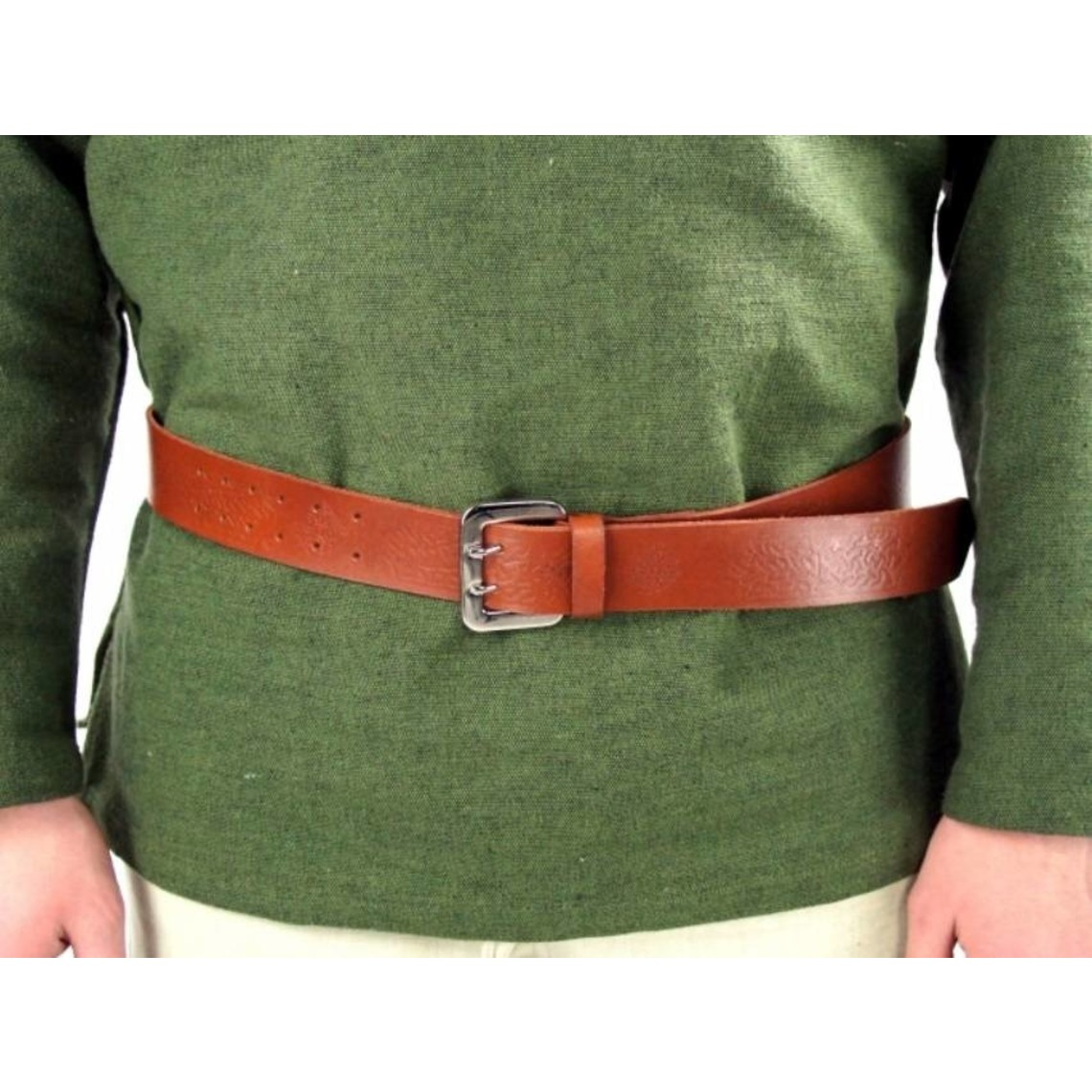 Leonardo Carbone Cinturón celta con hebilla, marrón