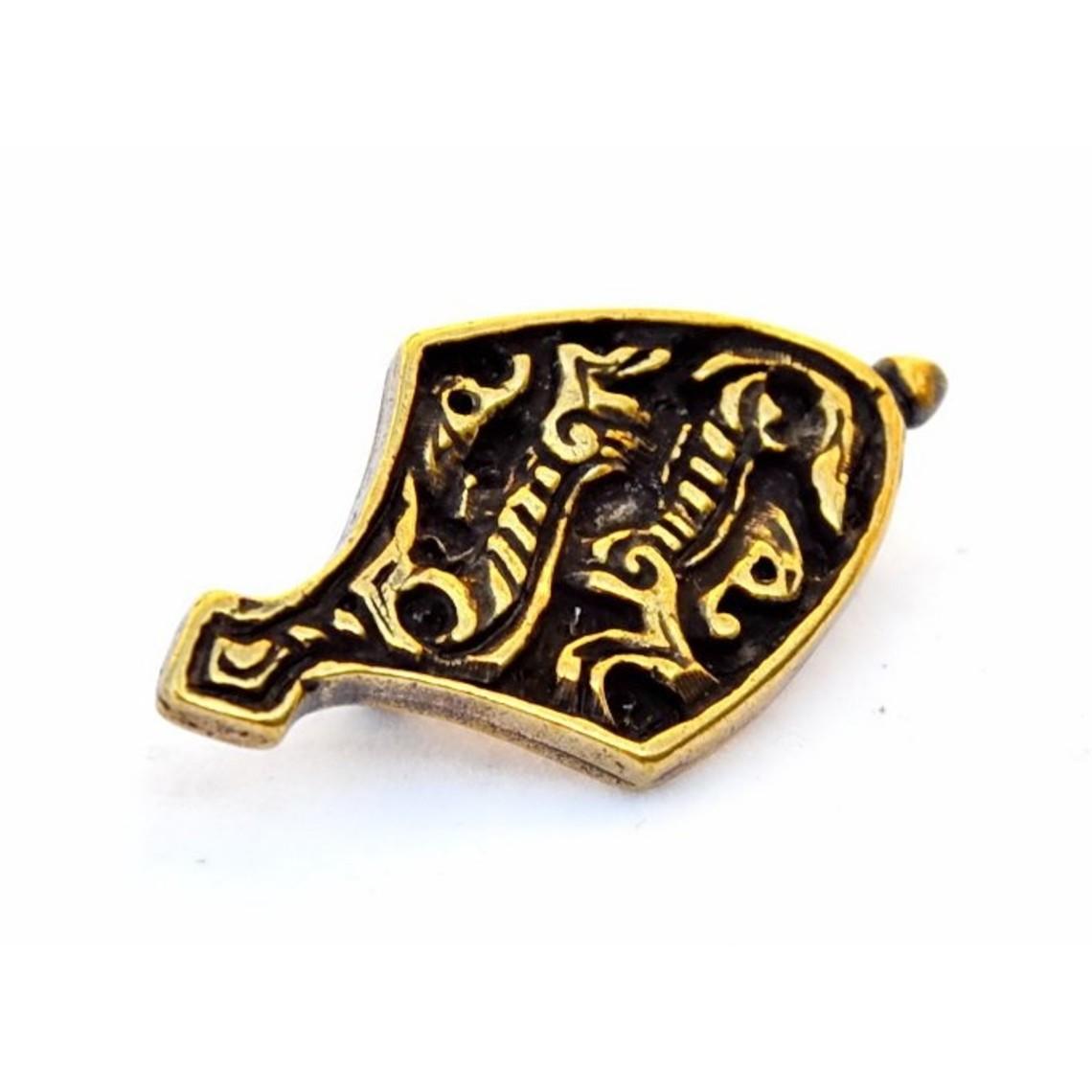 el extremo del cinturón de cinta animales, color bronce