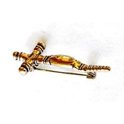 Early medieval cross fibula, bronze color