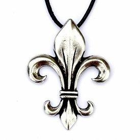 Fleur de Lys pendant, silvered