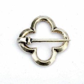 Medeltida Quatrefoil broche, silverfärgad