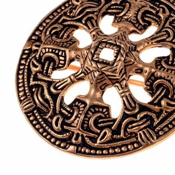 Viking disc fibula Borre style, bronze color