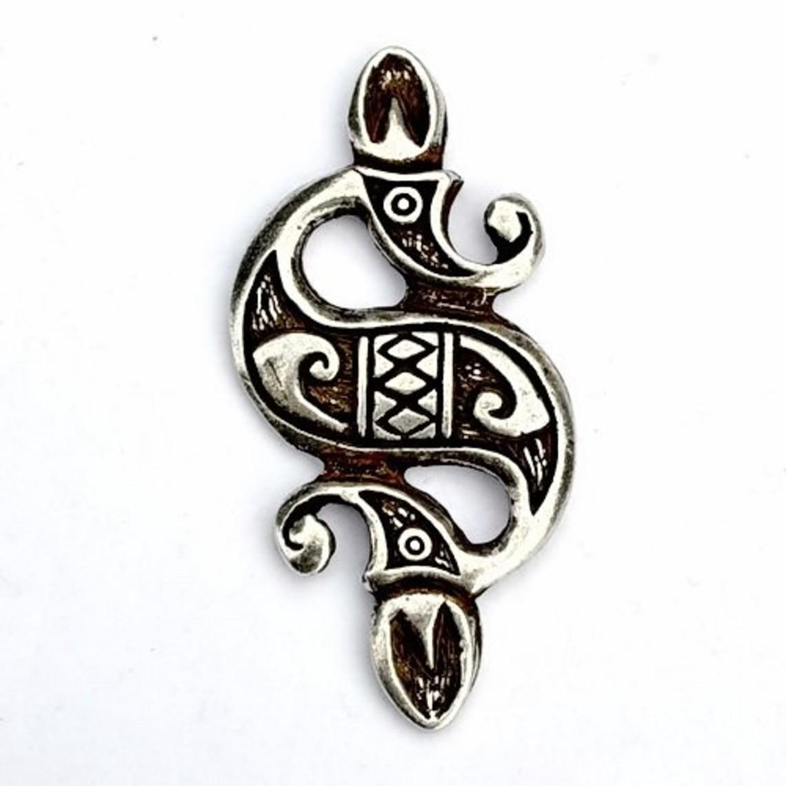 Keltische zeepaardhanger, verzilverd
