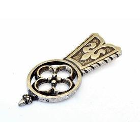 extrémité de courroie Medieval Quatrefoil, argenté