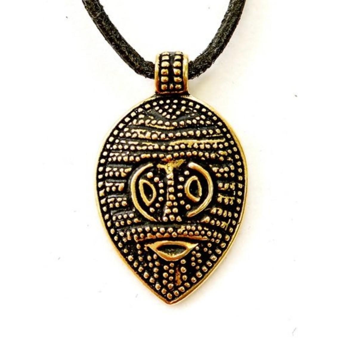 Vichingo amuleto maschera Gotland, bronzo