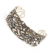 Celtic bracelet with Ancient Irish motifs, silvered