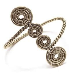 Celtic upper bracelet with spirals, silvered