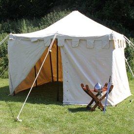 Medeltids tält Herold 4 x 4 m, röd-naturliga