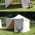 Middeleeuwse tent Herold 4 x 4 m, rood-naturel