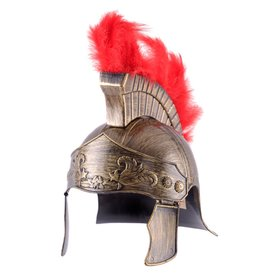 Roman toy helmet with red crest
