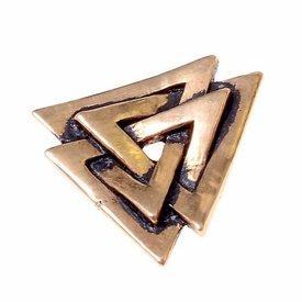Valknut amuleto, bronce