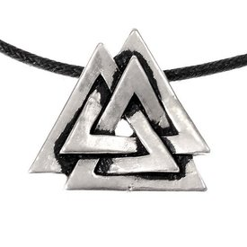 Valknut amulet, silvered