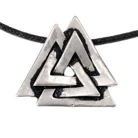 Valknut amuleto, argentato