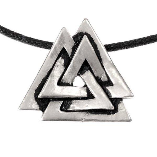 Valknut amulet, forsølvede