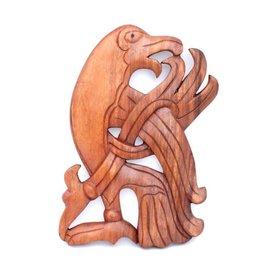 Holzschnitzwerk Wikinger Rabe