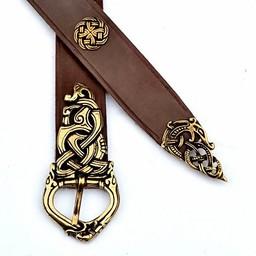 Ringe Viking bälte deluxe, brun, försilvrad