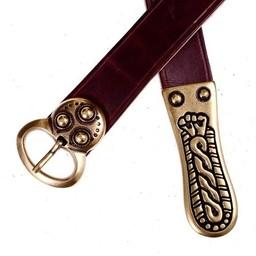 cinturón alemánica, marrón, plateado