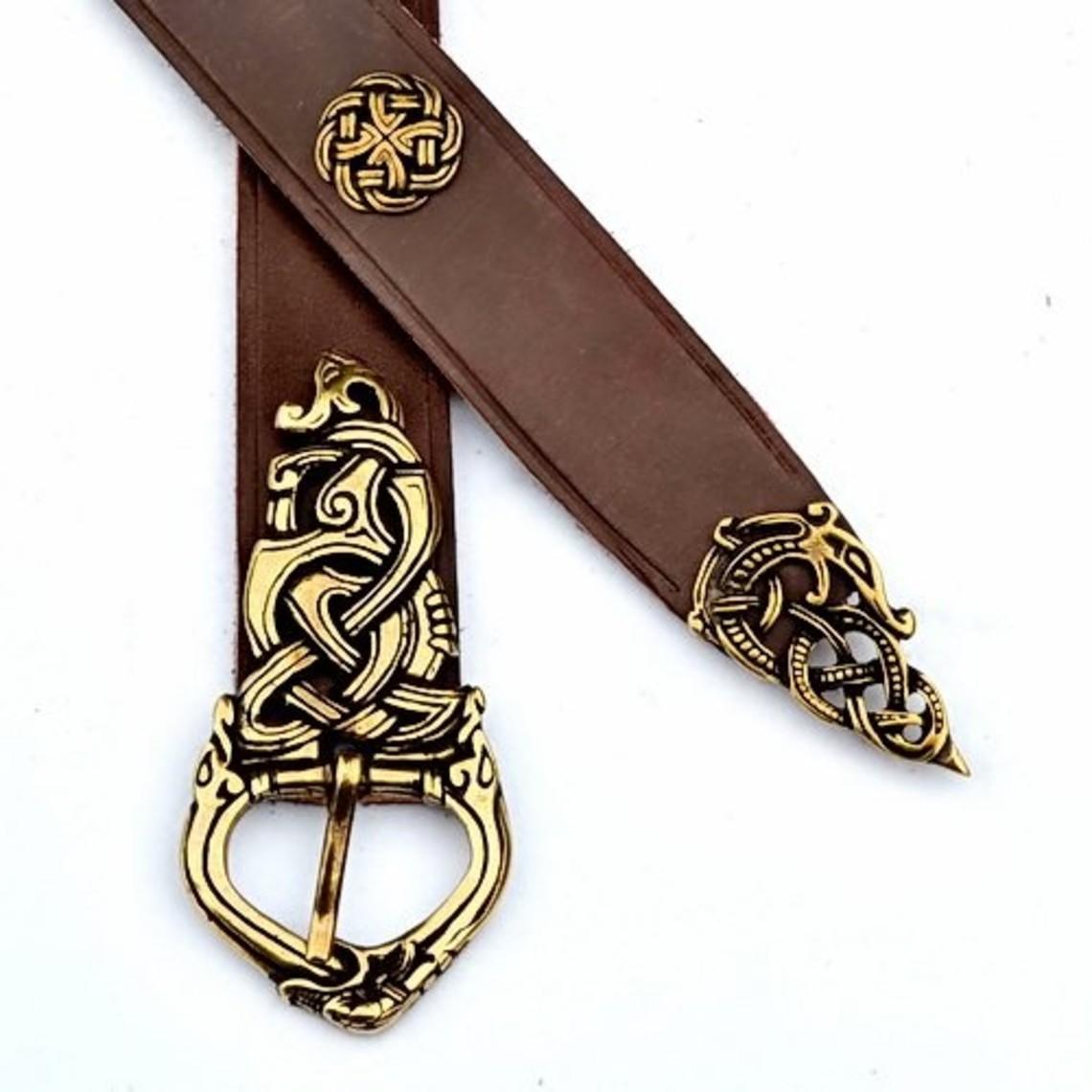 Ringerike de luxe de ceinture Viking, noir, argenté