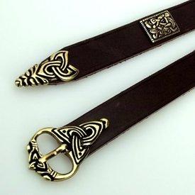 Viking bälte Borre stil deluxe, brun, försilvrade