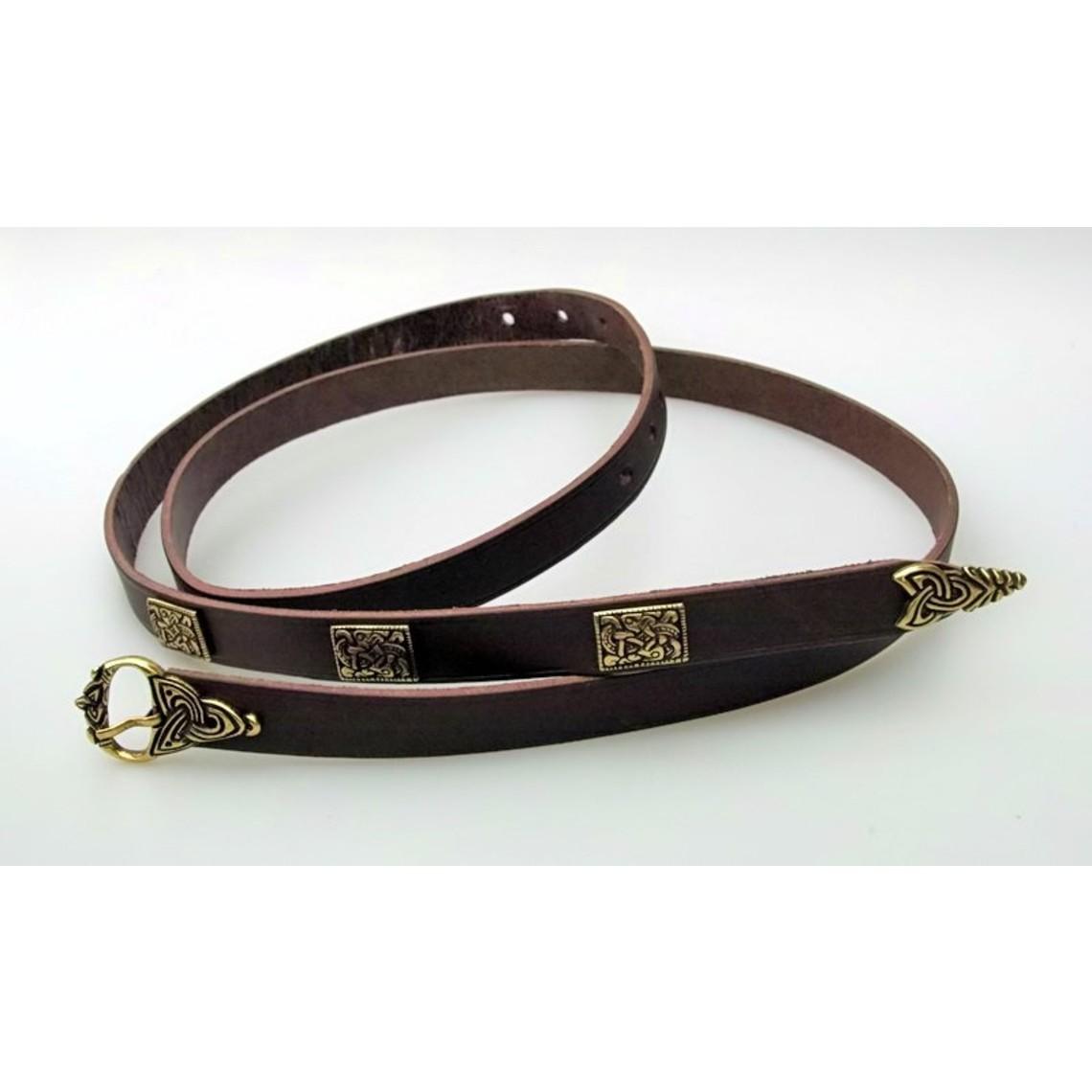 lujo de estilo de Viking cinturón de Borre, marrón, plateado