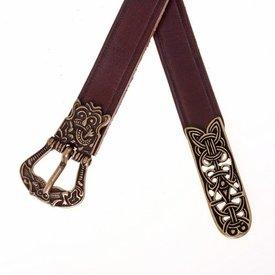 Birka cinturón, marrón, plateado