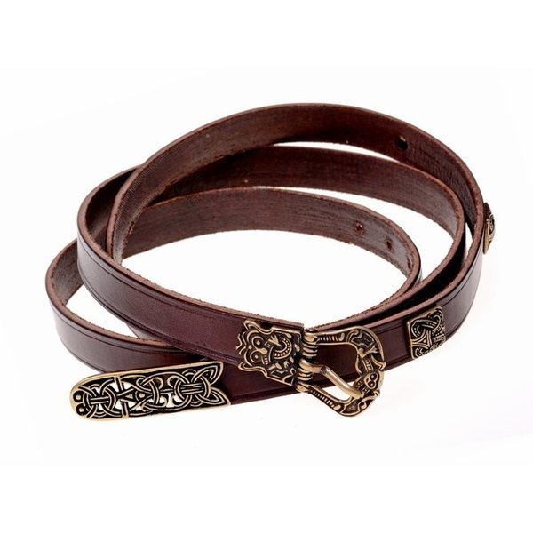 Birka belt deluxe, brown, silvered