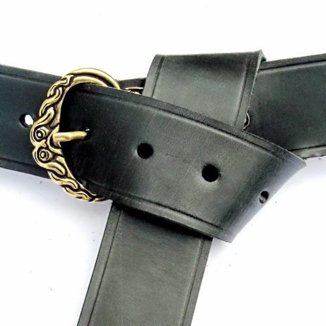 Borre cinturón de Viking, negro, plateado