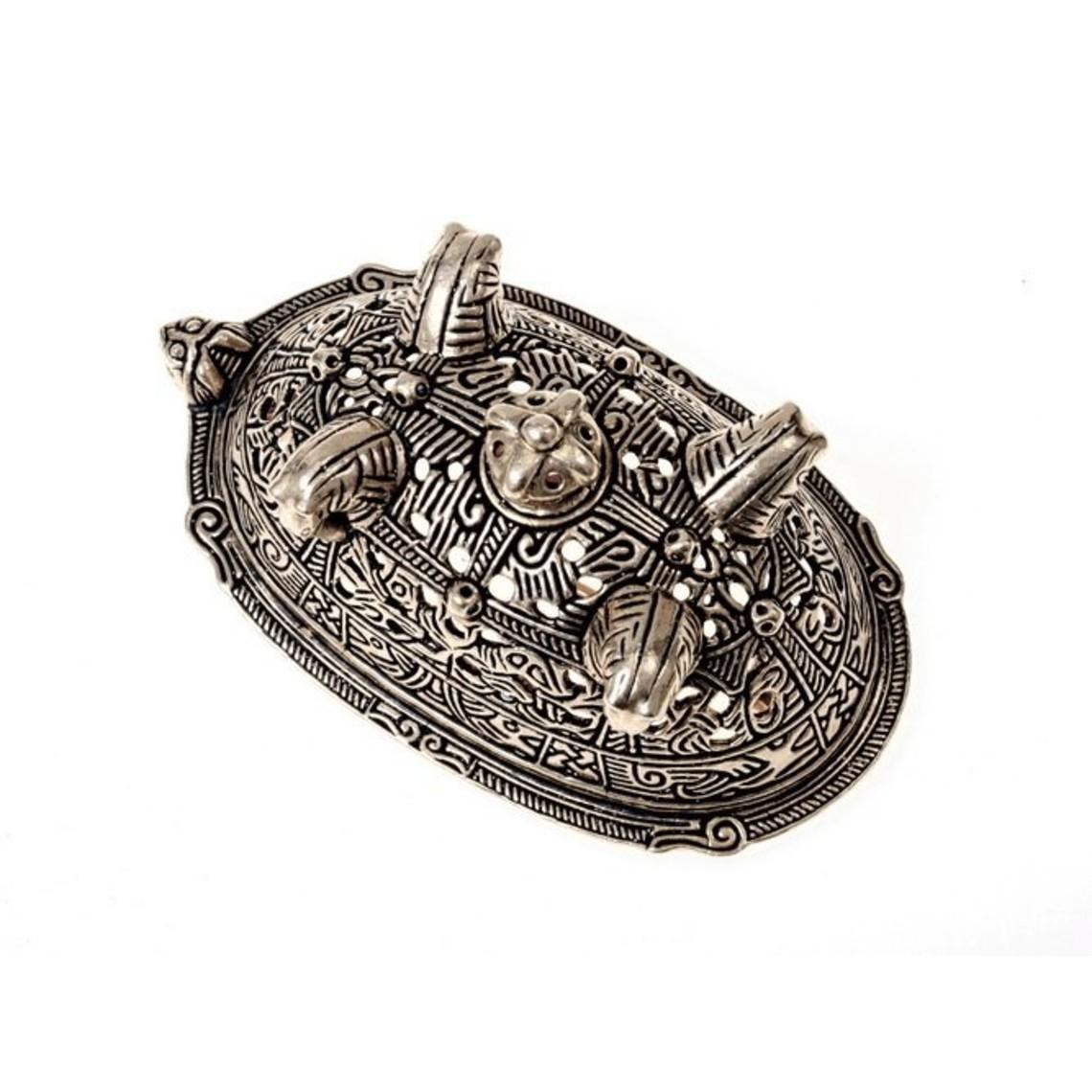 Viking skildpadde broche Birka, grav 860, forsølvede
