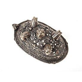 Viking broche de tortuga Birka, lápidas 860, plateado