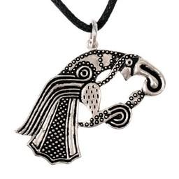 amuleto de cuervo germánico, plateado