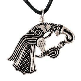 amulette corbeau germanique, argentait