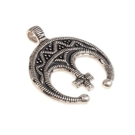 amulette lunule avec croix, argentait