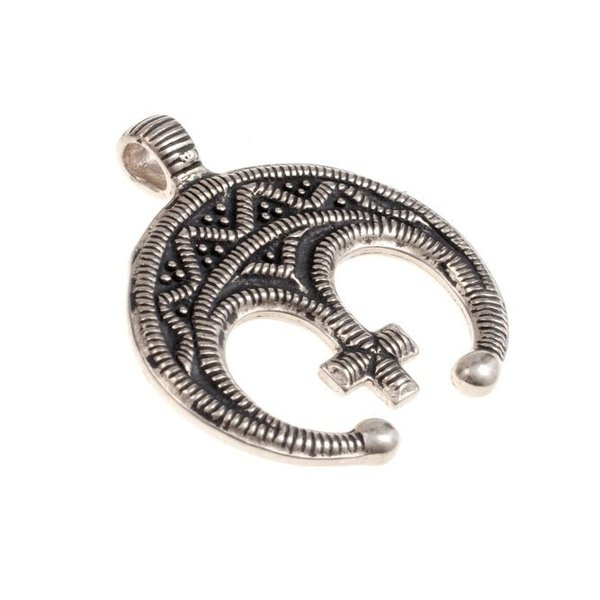 amuleto Lunula con croce, argentato