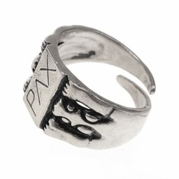 Medieval ring Peace, silvered