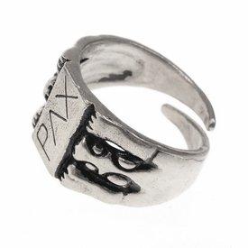 Paz anillo medieval, plateado